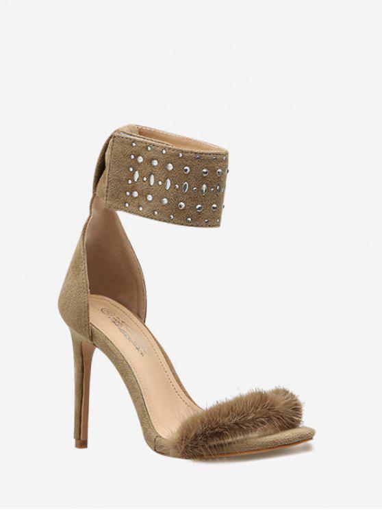 Correa de tobillo mullida punta estrecha sandalia de vestir - Albaricoque 37