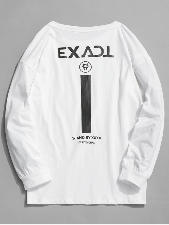 shops Exact Graphic Full Sleeve T-shirt - WHITE S