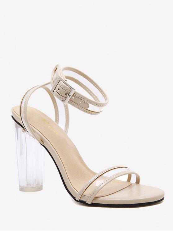 fashion High Block Heel Lucid Strap Sandals - APRICOT 39