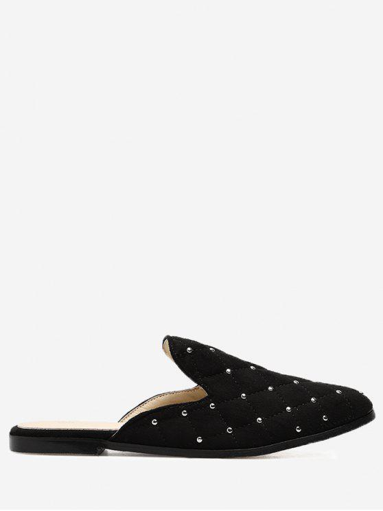 Almond Toe Studs Mules Shoes - Negro 35