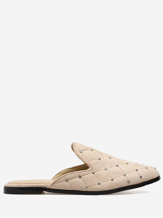 fashion Almond Toe Studs Mules Shoes - APRICOT 35