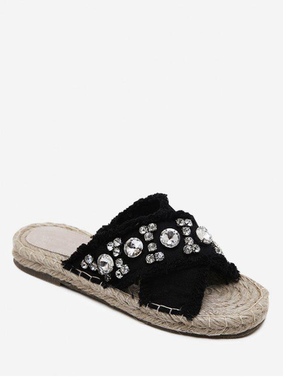 women Rhinestone Decorate Cross Casual Slippers - BLACK 38