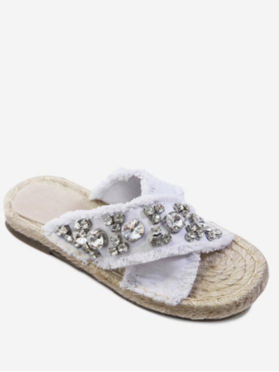 Strass Decorate Cross Casual Slippers - Bianco 35