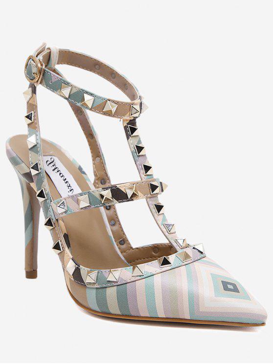 Sandalias de tacón de aguja cruzadas geométricas - Verde 35