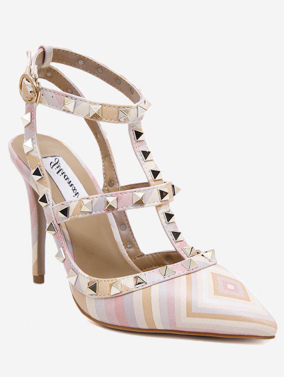 Sandálias cruzadas de calcanhar de estilete geométrico - COLORIDO 37