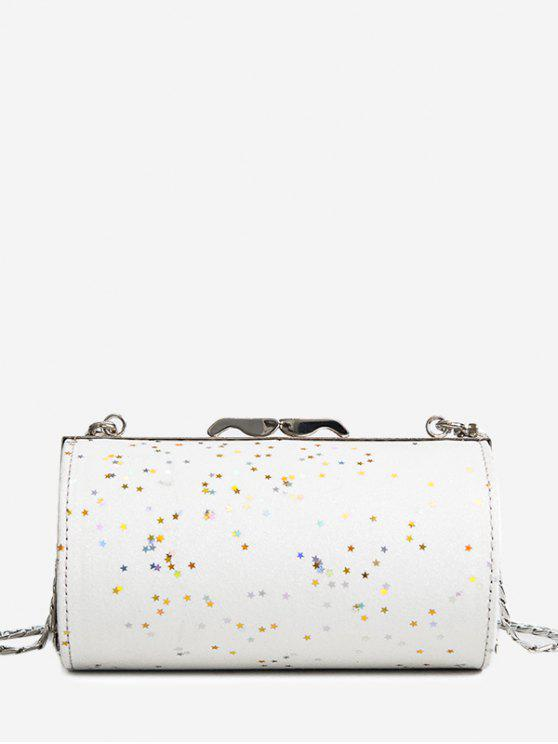 affordable Glitter Cylinder Shaped Crossbody Bag - WHITE