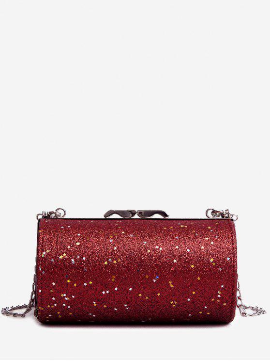 بريق على شكل اسطوانة حقيبة كروسبودي - أحمر