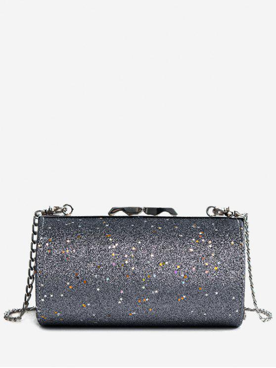 بريق على شكل اسطوانة حقيبة كروسبودي - اللون الرمادي
