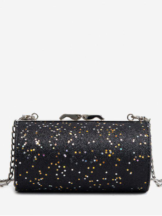best Glitter Cylinder Shaped Crossbody Bag - BLACK