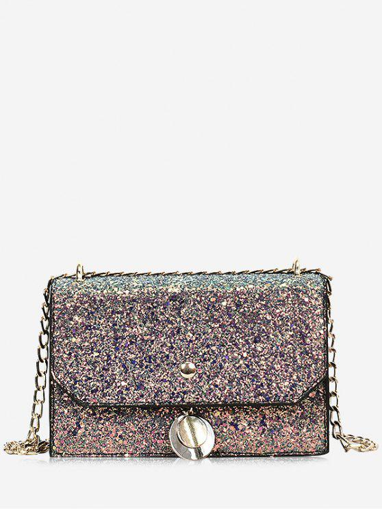 online Sequined Metallic Crossbody Bag - COLORFUL