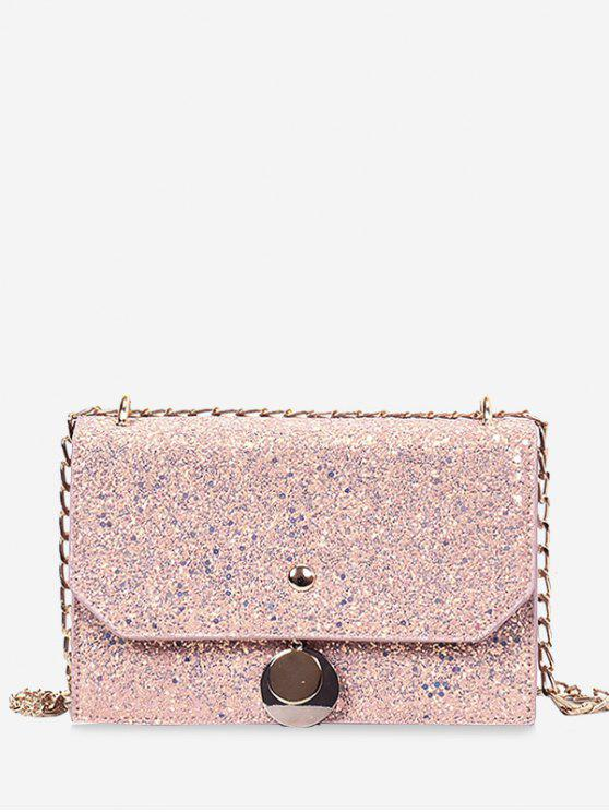 hot Sequined Metallic Crossbody Bag - PINK