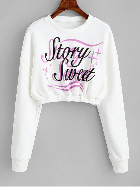 online Crew Neck Letter Graphic Crop Sweatshirt - WHITE M