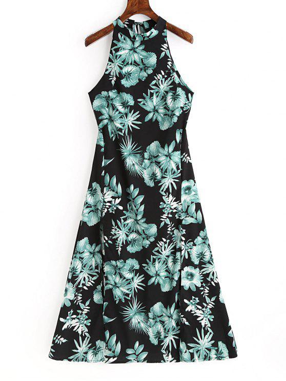 online Floral Print Backless Sleeveless Dress - BLACK L