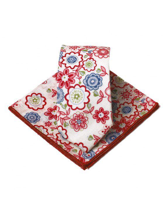 Conjunto de pañuelo con corbata de adorno exclusivo con estampado de flores - Rosa Roja