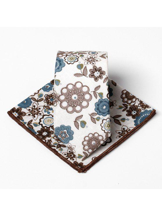 hot Unique Floral Pattern Embellished Necktie Handkerchief Set - BROWN