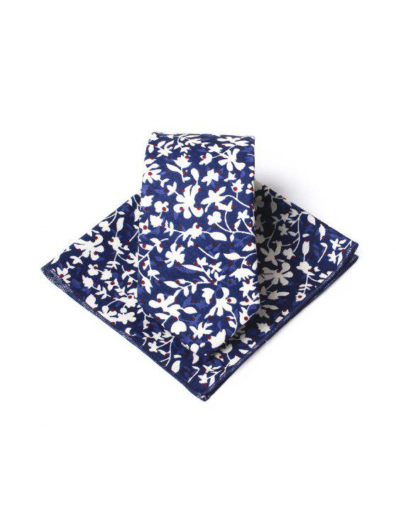 shop Simple Floral Pattern Printed Necktie Handkerchief Set - BLUE