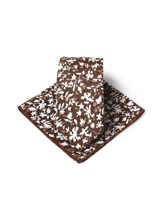 shops Simple Floral Pattern Printed Necktie Handkerchief Set - BROWN