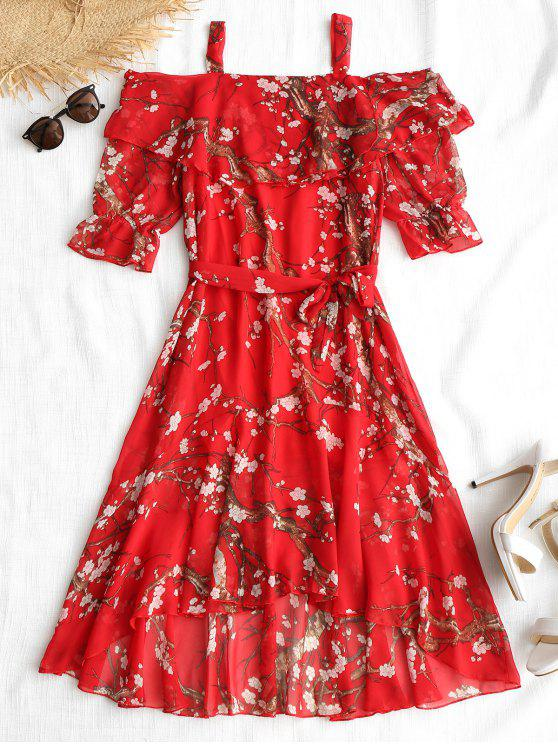 hot Floral Print Belted High Low Dress - RED XL