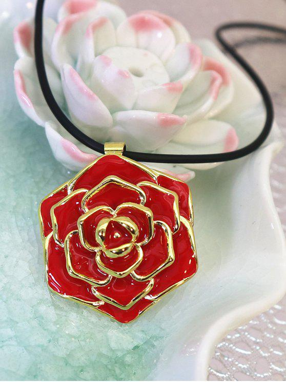 womens Enamel Rose Valentine's Day Alloy Pendant Necklace - RED