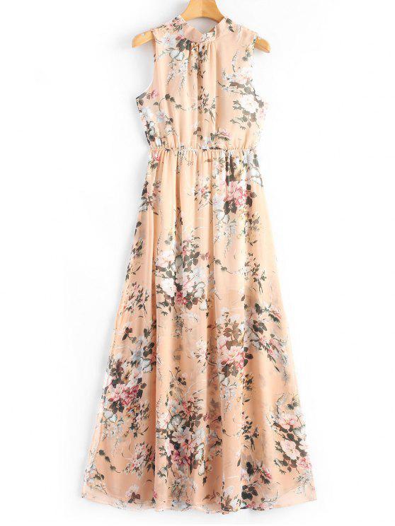 affordable Open Back Slit Floral Print Maxi Dress - FLORAL M