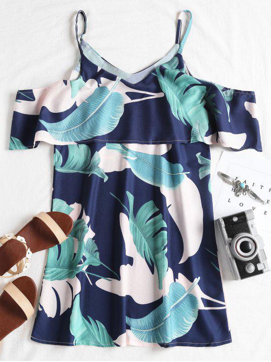 women's Ruffle Tropical Cold Shoulder Mini Dress - GREEN S