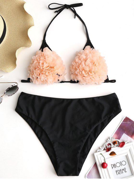 unique Stereo Flower Plus Size Bikini Set - BLACK 4XL