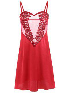 Applique Satin Babydoll - Rot