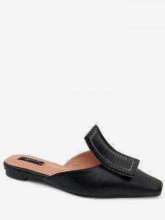 Narrow Square Toe Mules Shoes - Black 35