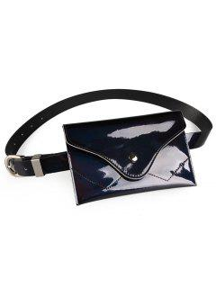 Funny Pack Faux Patent Leather Skinny Belt - Black