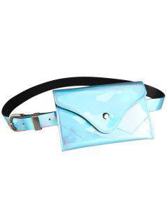 Funny Pack Faux Patent Leather Skinny Belt - Windsor Blue