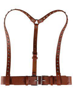 Rivet Embellished Punk Harness Faux Leather Belt - Light Brown