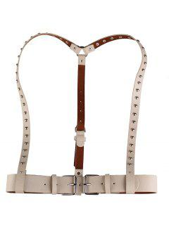 Rivet Embellished Punk Harness Faux Leather Belt - Khaki