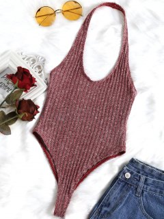 Ribbed Heathered Halter Bodysuit - Dark Red S