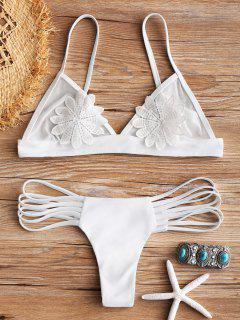 Mesh-Applique-Tanga-Bikini-Set - Weiß M