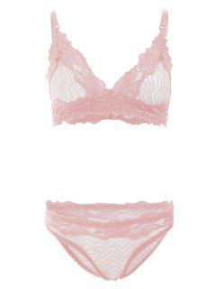 Sheer Lace Bra And Panties - Pink L