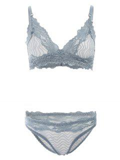 Sheer Lace Bra And Panties - Stone Blue L