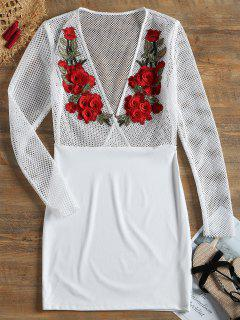 Floral Patched Fishnet Panel Sheer Dress - White L
