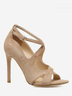 Crisscross Stiletto Heel Sandals - Apricot 36
