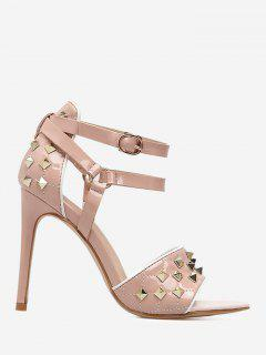 Dual-Strap Studs Rivet Heeled Sandals - Pink 36