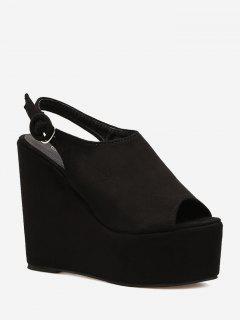 Peep Toe Platform Wedge Slingbacks - Black 36
