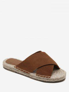 Whipstitch Cross Outdoor Casual Slippers - Brown 40
