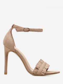 Stiletto Heel Ruffle Sandals - Apricot 36