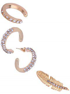 Ensemble De Boucles D'Oreilles De Cartilage Motif Cercle Feuille En Alliage Et Strass  - Or