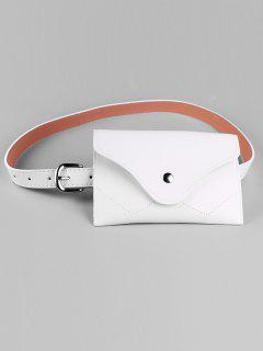 Removable Fanny Pack Faux Leather Skinny Belt - White