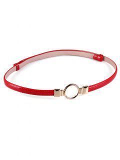 Cinturón Pitillo Adornado Con Hebilla Redonda De Metal - Rojo