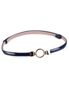Metal Round Buckle Embellished Skinny Belt - Blue