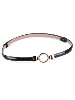 Metal Round Buckle Embellished Skinny Belt - Black