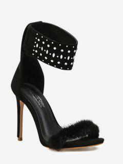 Fluffy Ankle Strap Pointed Toe Dress Sandal - Black 36