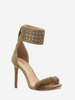 Fluffy Ankle Strap Pointed Toe Dress Sandal - Apricot 35