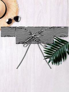 Off The Shoulder Drawstring Striped Crop Top - White And Black S